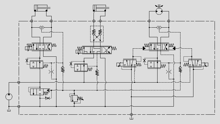 此原理图为用多个四通、五通比例换向阀与阀前压力补偿器及三通压力补偿器组成一个多执行机构联动工作回路,可保证各执行机构较好地协同动作。