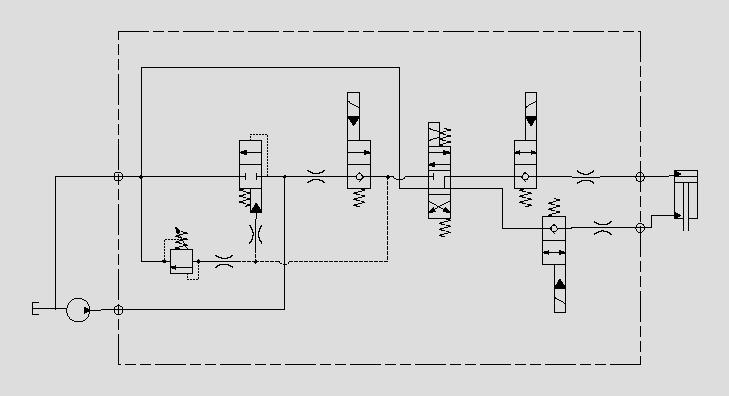 此原理图为运用电磁阀实现油缸浮动和负载保持。