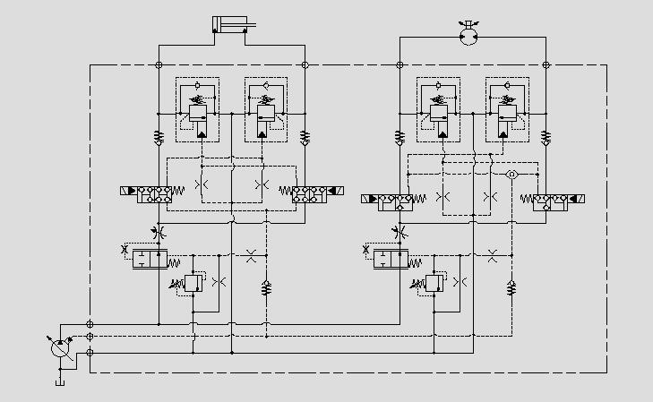 此原理图中负载保持桥接回路的优点是可以分别控制进油口与回油口的流量。