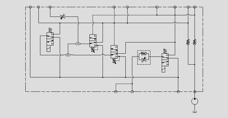 此原理图为运用电磁阀、流量控制阀和压力阀控制制动器的动作速度、启停和紧急制动。
