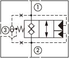 原理图为太阳液压的外泄开启型带两内嵌式阻尼及梭阀的常闭锥阀式逻辑阀,型号为:LODD, LOFD, LOHD, LOJD, LOKD。